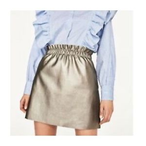 Zara Knit Faux Leather Metallic Skirt